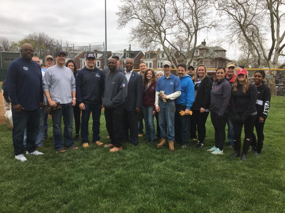 Rue Employees Group Shot Baseball Field Repair