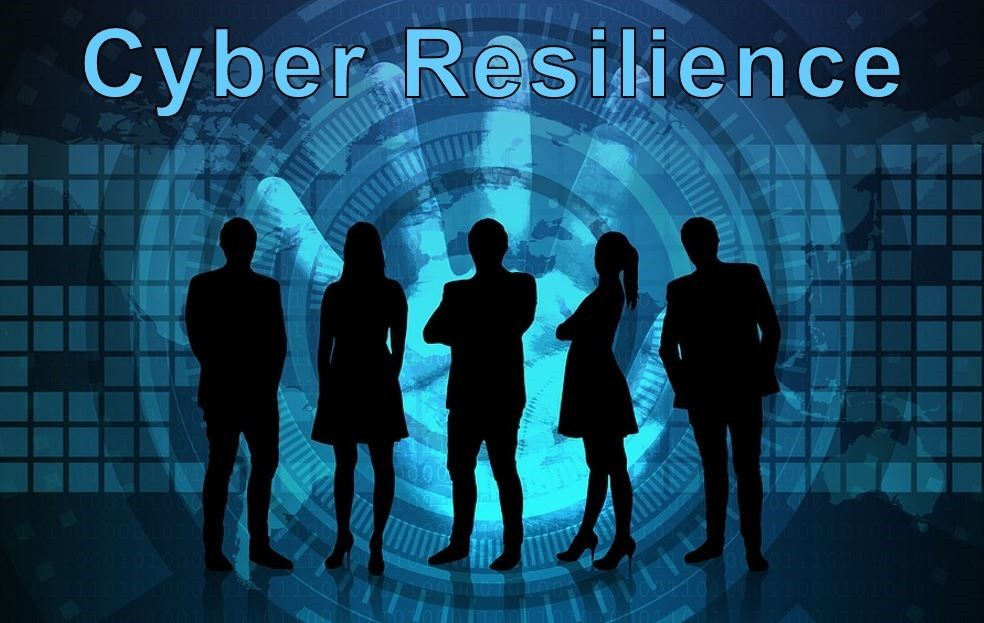 titled cyber resilience group of silhouetted people in business attire